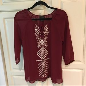 WET SEAL Sheer Embroidered 3/4 Sleeve Blouse Tunic